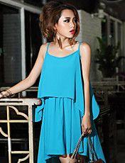 Women's Chiffon Pleated Strap Dress – USD $ 69.29
