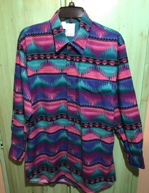 Vintage Roper Western Southwestern Rockabilly Mens L Shirt USA Multi Color | eBay