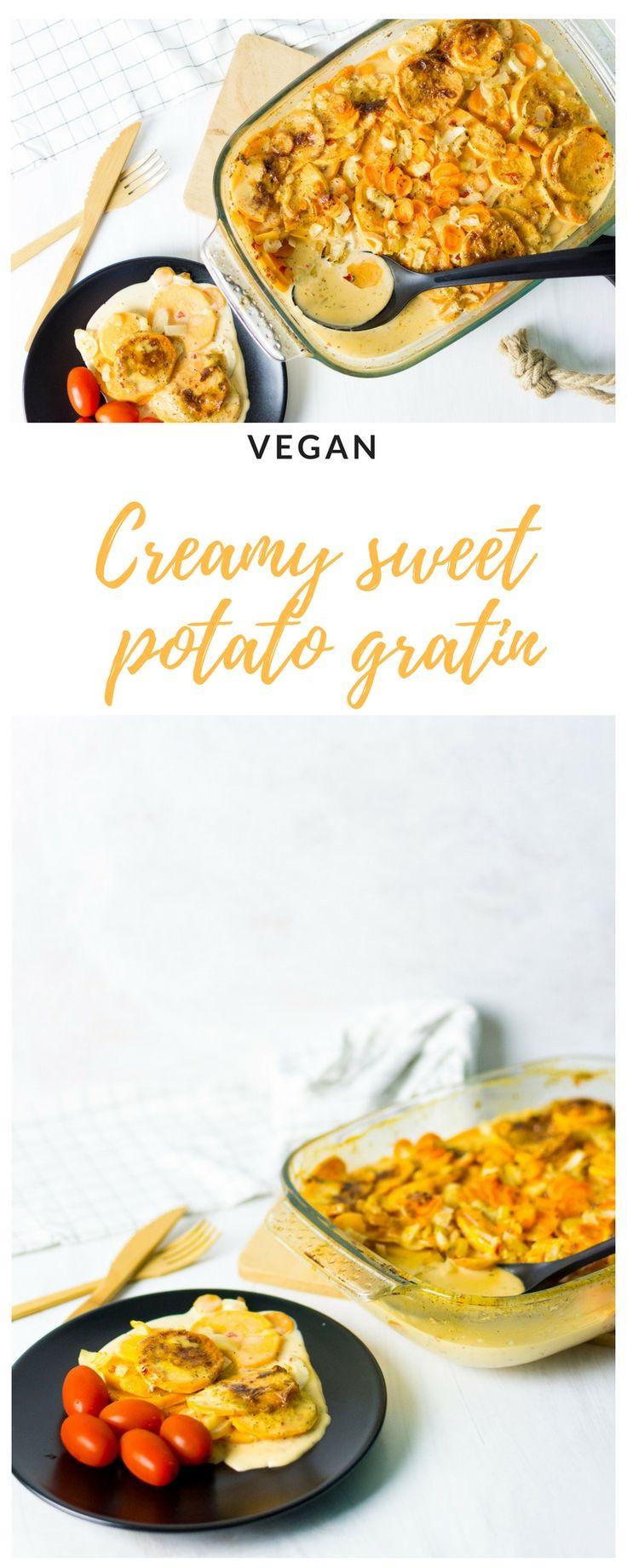 Creamy sweet potato gratin. Vegan dinner.