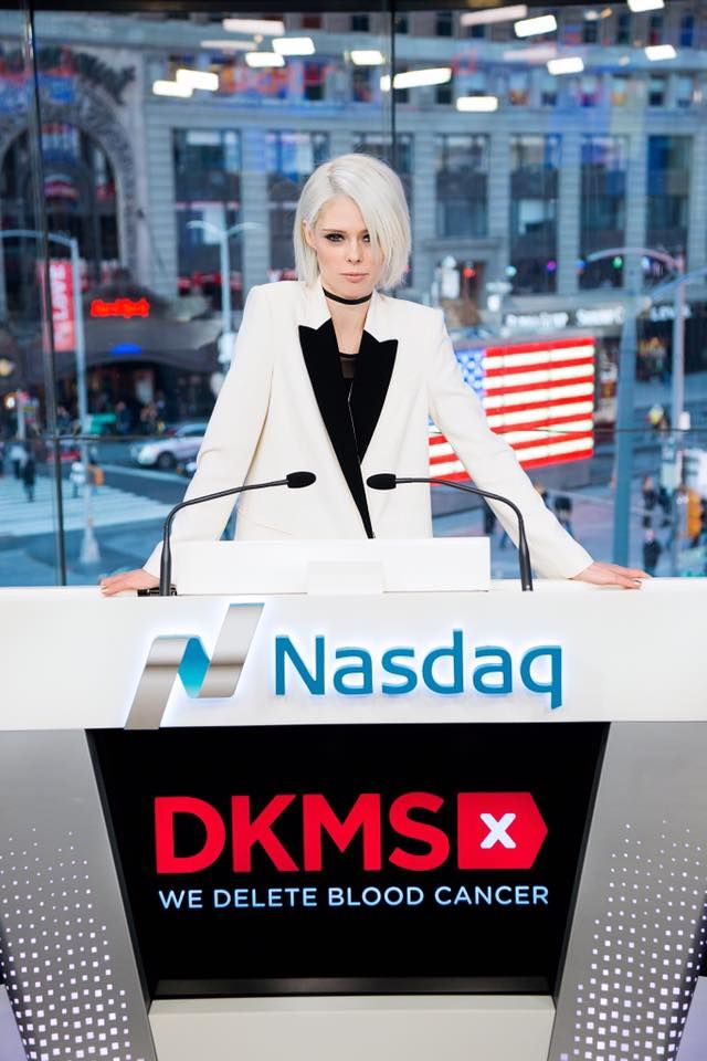 Coco Rocha wearing Judith and Charles from Rockland at Nasdaq NYFW.
