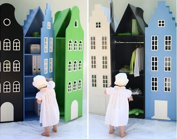 """При слове """"шкаф"""" в голове обычно возникает что-то квадратно-монументальное. А вот такие голландские шкафы могут с этим поспорить. Сделаны они из картона, легко красятся в разные цвета."""