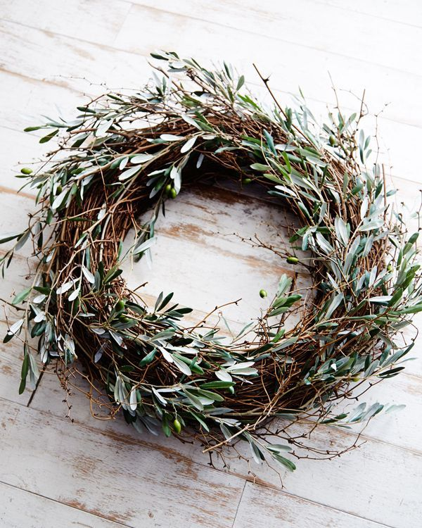 - olive leaves - A wreath worth hanging - it looks like it has been made by a specially trained bird