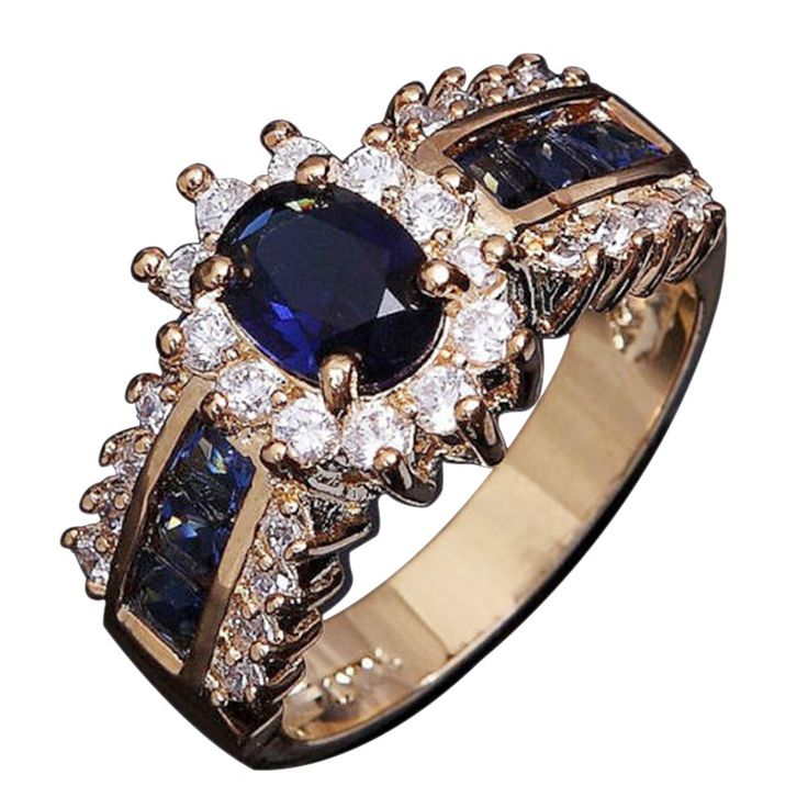 Hot Classic Engagement Ring gold plated Lovers Promise Ring for women Size 6-12 Blue Sapphire18K Gold Filled Wedding Rings