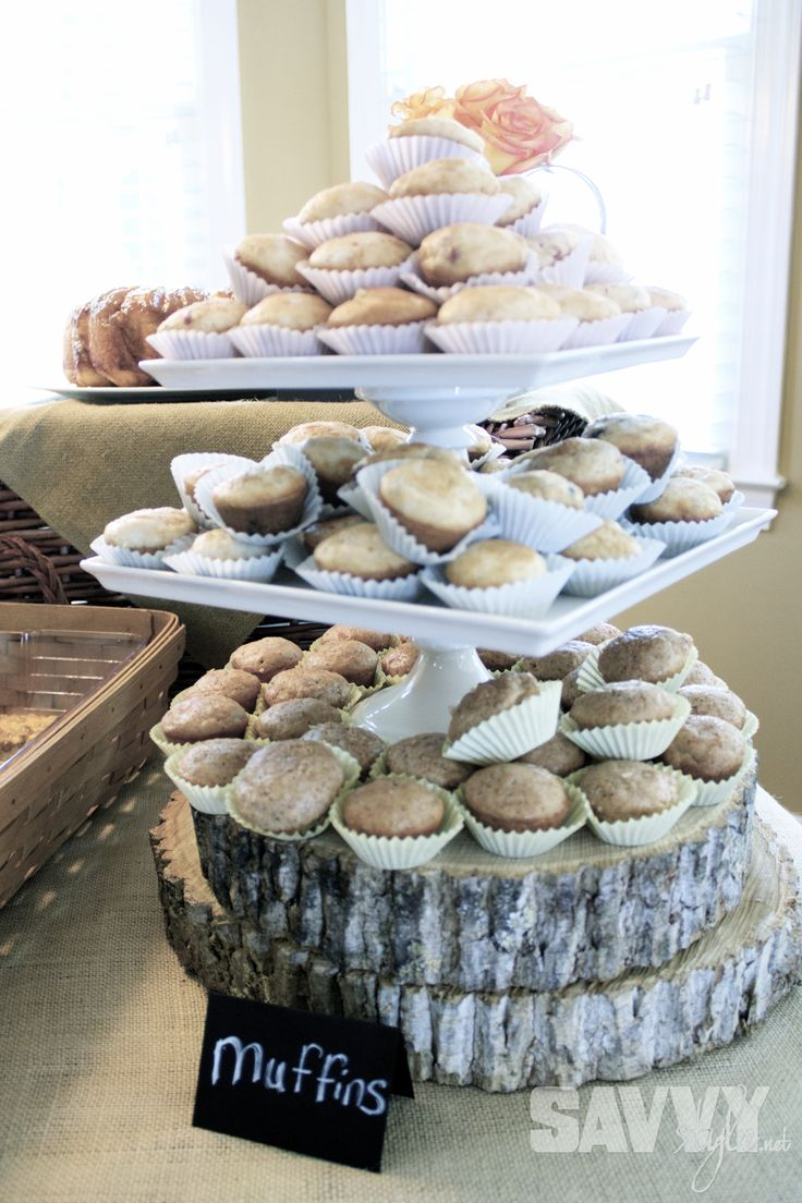 Muffin Tower on wood slabs bridal-shower-muffins http://savvystyle.net/2013/04/21/rustic-bridal-shower-brunch/Shower Ideas, Food Display, Bridal Shower Muffins, Trees Cookies, Rustic Bridal Showers, Ashley Shower, Bridal Brunches, Belle Shower, Shower Brunches