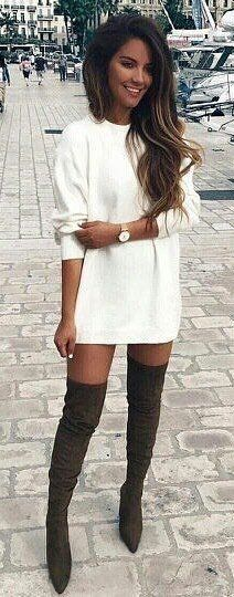 #spring #outfits woman wearing white long-sleeved dress and pair of gray thigh-high boots during daytime. Pic by @__viva_la_moda__
