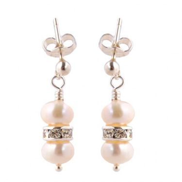 handmade freshwater pearl earrings with diamante rondelle and sterling silver stud posts