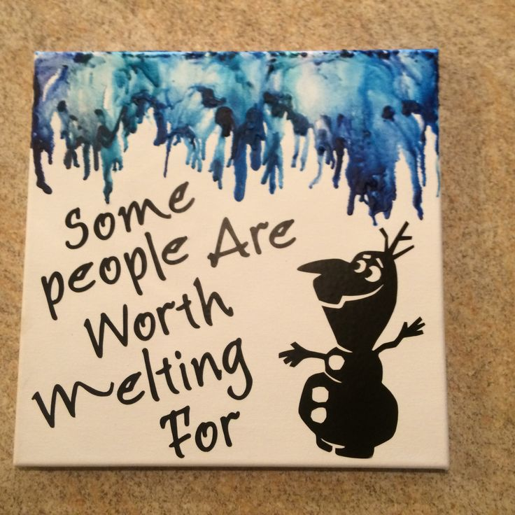 "Melted crayon canvas of my favorite Disney quote! ""Some people are worth melting for"" ❤️❤️❤️"