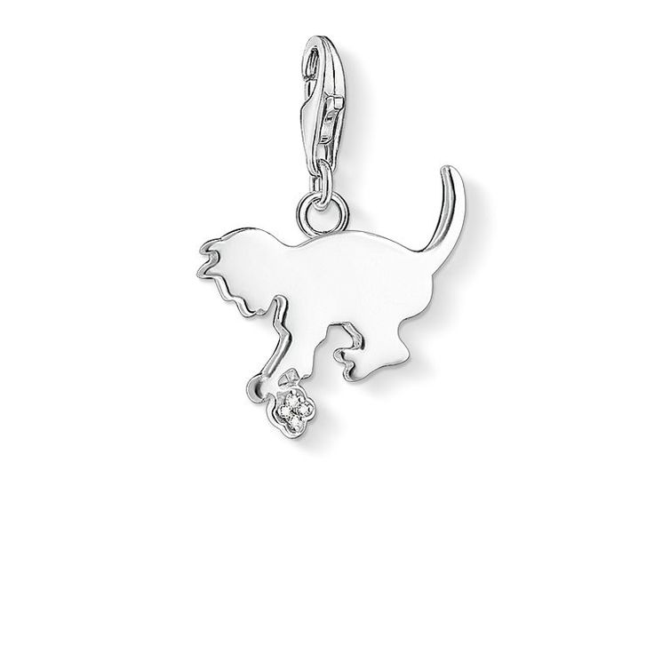 THOMAS SABO Charm pendant from the Charm Club Collection. On the occasion of the 10th anniversary of the Charm Club, the most popular THOMAS SABO Charms are receiving a very special upgrade: white diamonds adorn this little ball of wool with the cute cat crafted from 925 Sterling silver. [Artikeltabelle]Category:Charm pendant Material:925 Sterling silver Stones:Diamonds 0.0088 ct Cut: 16 facets + table Colour: G/H Clasp:with lobster clasp Measurements:Size approx. 1,5 cm (0,59 Inch)…