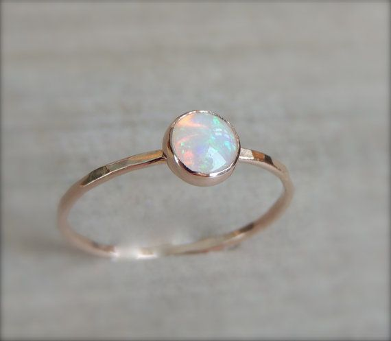 Glowing Rainbow Opal Gemstone on Rose Gold or Yellow by Luxuring