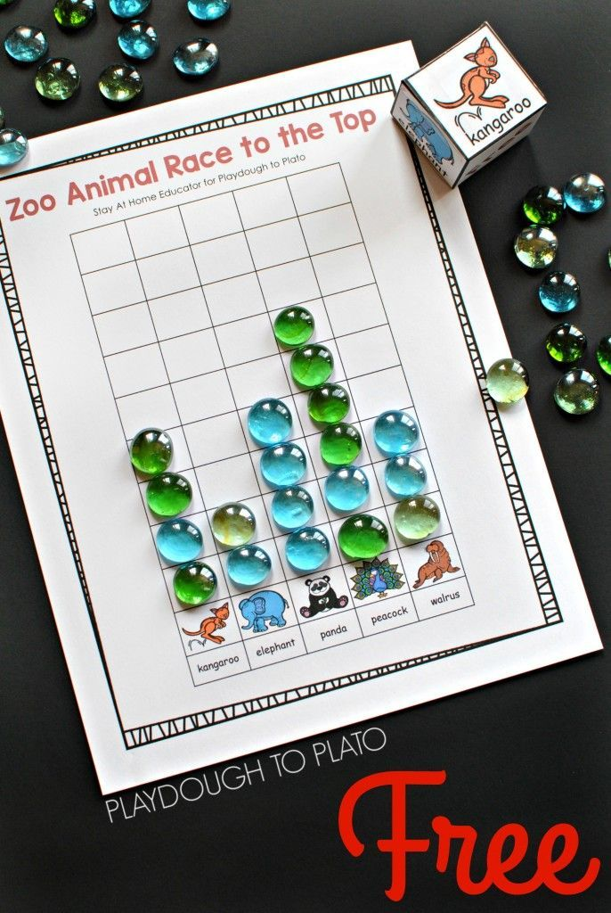 Zoo Animal Race to the Top Counting Game! Fun math activity for preschool or kindergarten.