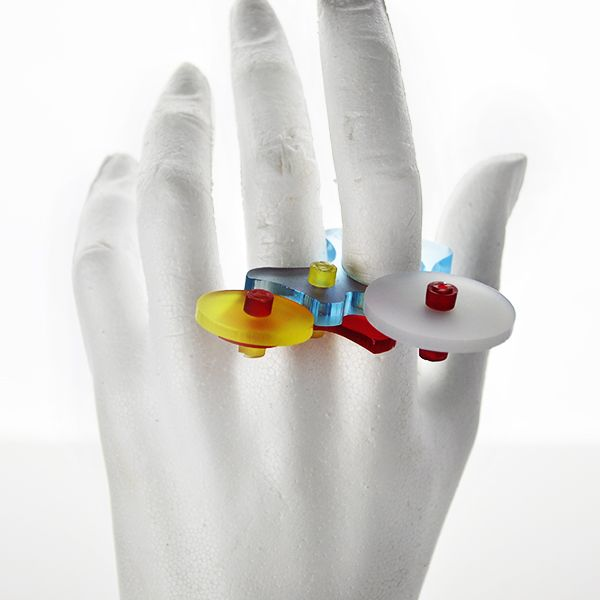 """""""Cyborg Tilt"""" Ring (top), by E Georgakopoulos, 2013."""