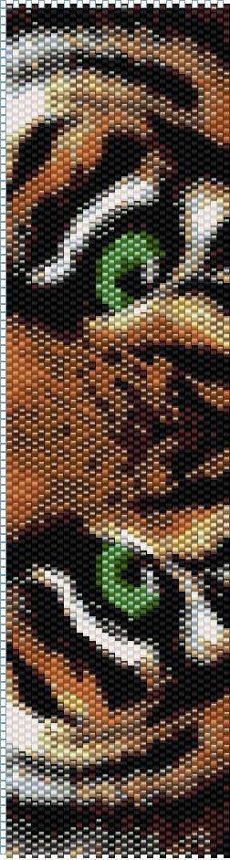 Tiger 1 Odd Count Single Drop Peyote Cuff/Bracelet PATTERN: