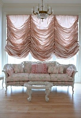 Someday when I don't have kids I want a couch and curtains pink and white like this. lol. Doesn't really fit with my whole house but I LOVE this!