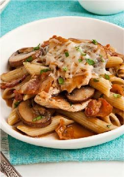 Chicken & Mushroom Penne Pasta — Tender chicken breast strips and sauteed mushrooms are added to a savory sauce and served with penne pasta in this quick and easy weeknight recipe.