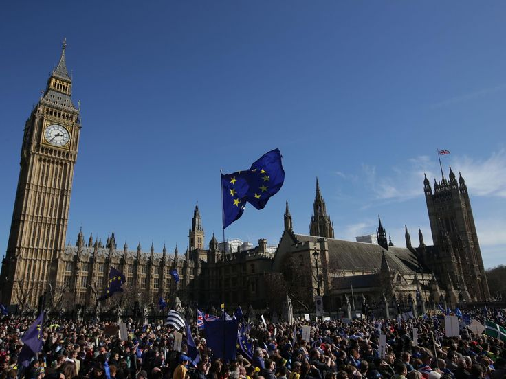 Thousands of anti-Brexit protesters march on Parliament  Leaving EU 'no longer holds credibility in Westminster — let alone on the streets of Britain'