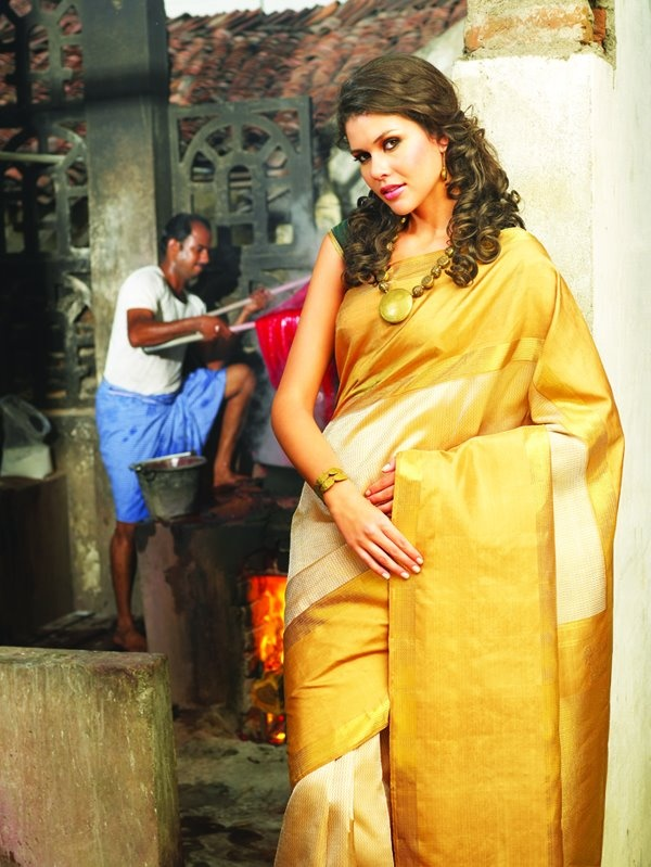 Cream and mustard silk saree