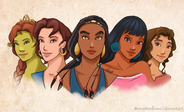 ♡The forgotten heroines♡ From left to right: ♡FIONA (Shrek) ♡MARINA (Sinbad: Legend of the seven seas ♡TZIPPORAH (The prince of Egypt) ♡CHEL (The road to El Dora...