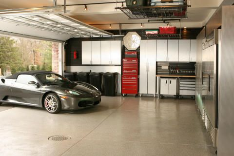 Man Cave Garage Plans | Garage Floor Coating with Custom Cabinet & Overhead Storage