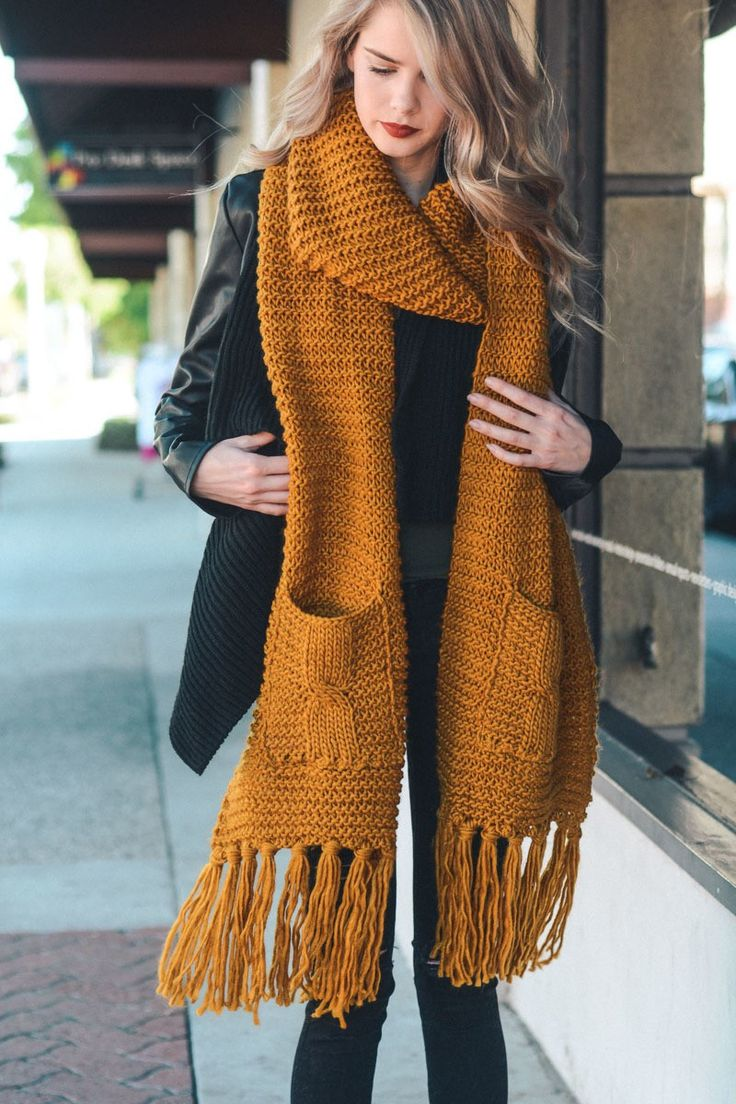 "New Chunky Oversized Tassel Scarf featuring pockets! Look extra Cozy and Cute this Season! - 100% Acrylic - Dimension 110""x13"""