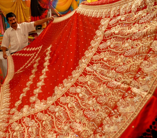 The famous Dharmavaram silk sarees, known for their quality and elegance.