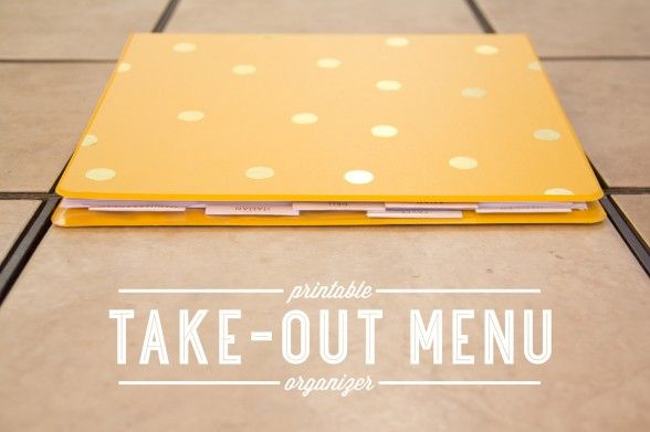 Diy take-out menu organizer printable- Click on orange printable download for the pdf- tabs and cover sheet for each category of food types!