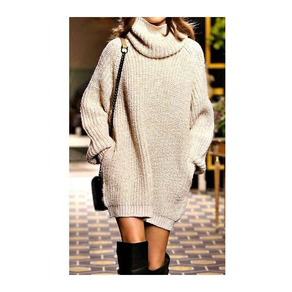 Rotita Long Sleeve Turtleneck Straight Sweater Dress (£16) ❤ liked on Polyvore featuring dresses, apricot, print dress, mini dress, turtle neck sweater dress, sweater dress and mini sweater dress