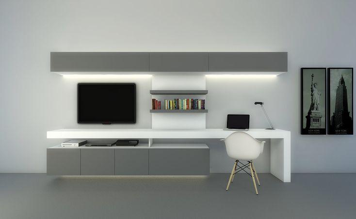 MODULUS. Composicion Tv con escritorio www.modulus.com.ar
