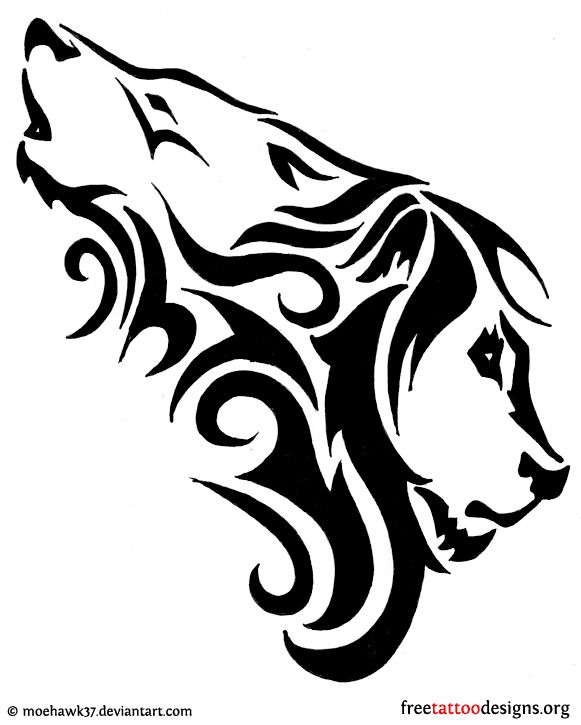 tattoo design combination of a wolf and a lion