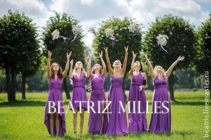 Длинное вечернее фиолетовое платье трансформер для подружек невесты. Длинное вечернее фиолетовое платье трансформер прекрасно подойдет на свадьбу для подружек невесты.  Платье трансформер  может быть укороченно спереди и можно сшить юбку полное солнце для пышности.