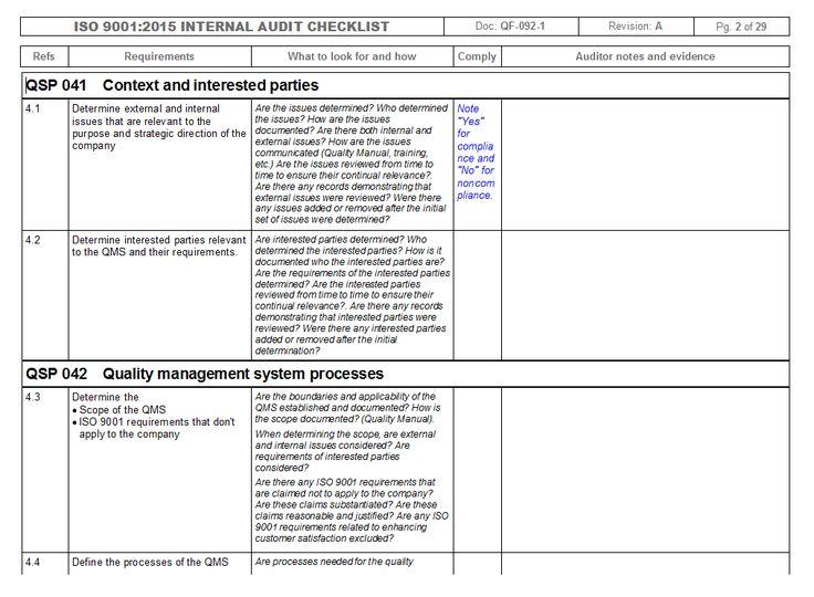 Internal Audit Report Template Iso 9001 1 Internal Audit Audit