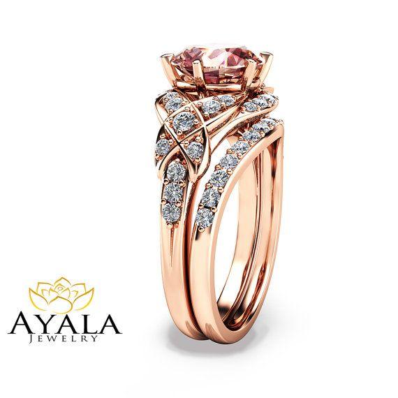 14K Rose Gold Engagement Ring Rose Gold Morganite by AyalaDiamonds
