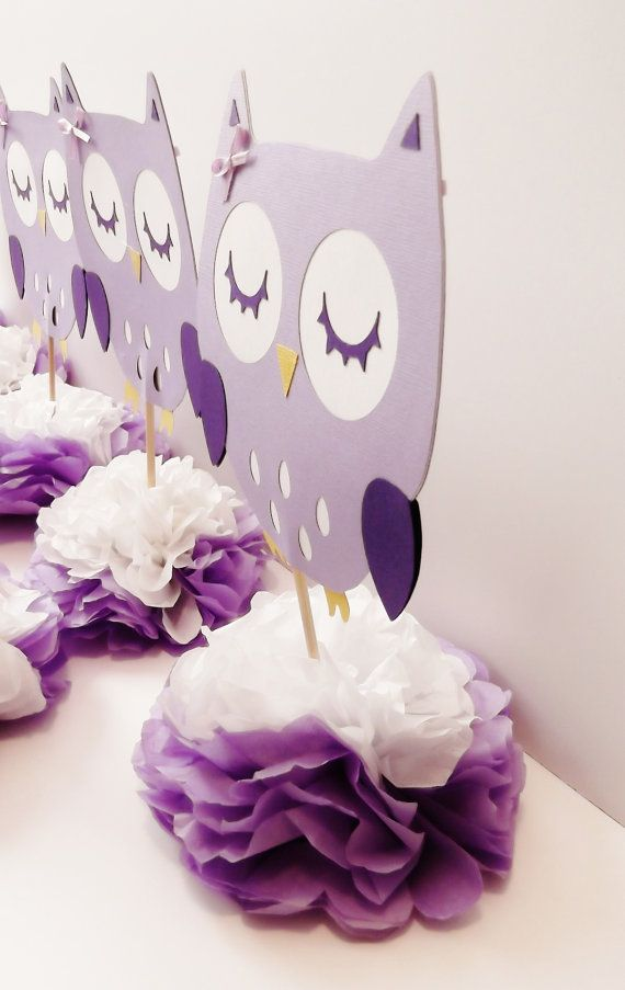 Sweet purple owl centerpieces for decorating a baby shower or a kids themed party.  Each piece is about 6 wide and stands 11 tall. The owls are double sided so that the cuteness can be seen wherever you are sitting at the table. Made from acid free paper.  This listing is for ten owl centerpieces.  Complete your party with the matching banner: https://www.etsy.com/listing/262862882/purple-owl-banner-baby-shower-party-room