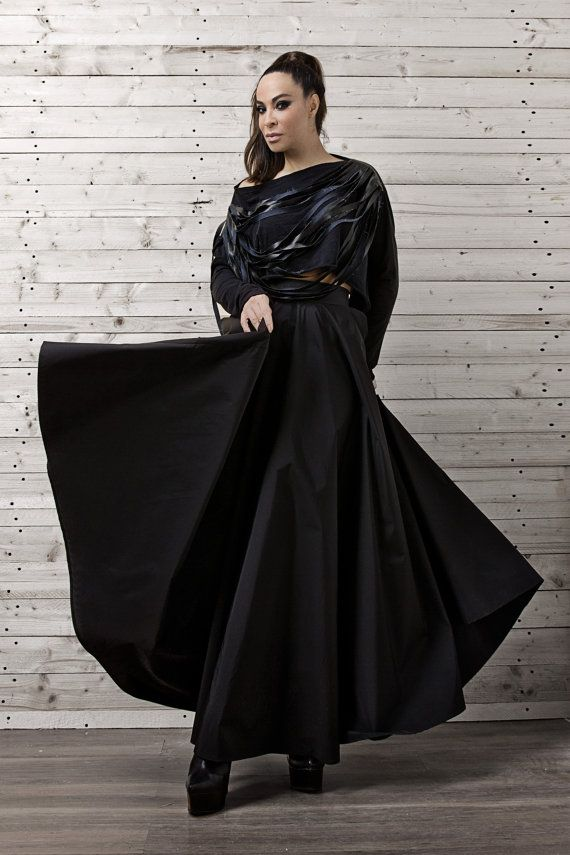 Black Long Skirt  Here is a skirt that will never go out of style! You can mix and match it with various tops and blouses.  The skirt and the top