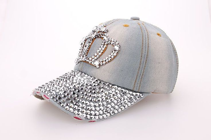 Free shipping Fashion Cotton Jean Caps Women Rhinestone baseball cap Lady JEAN summer hat