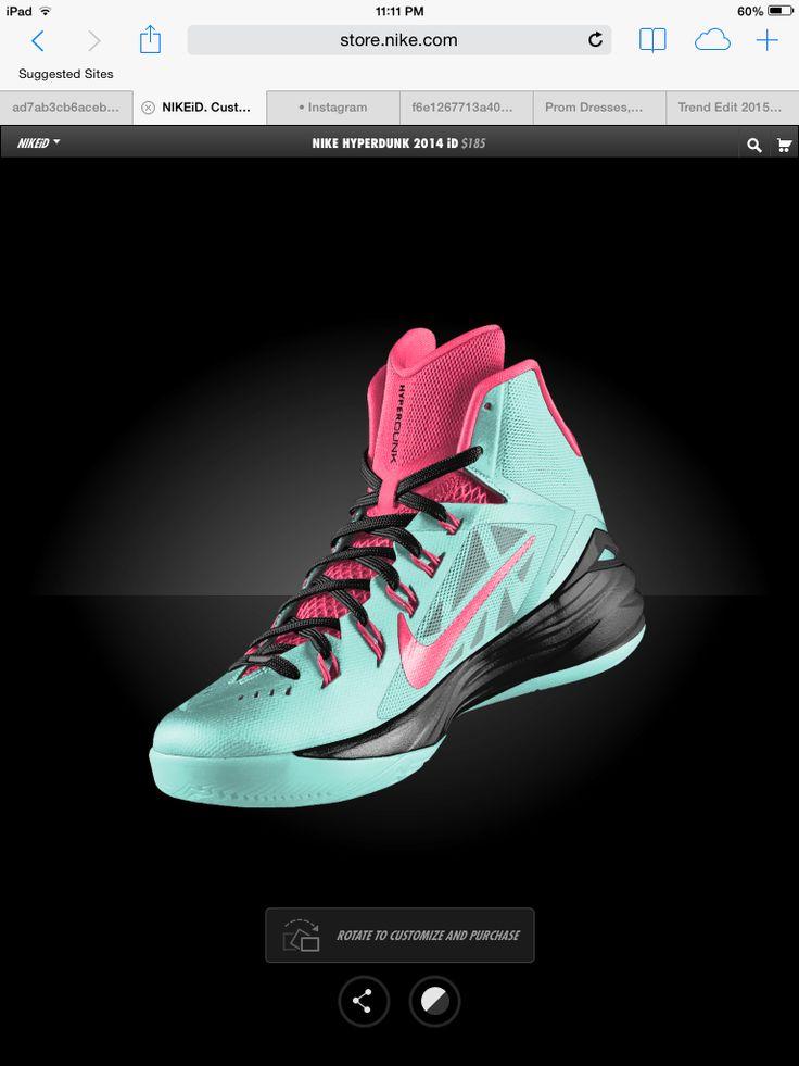 Nike HYPERDUNKS!!! Love em!! Aqua black and pink basketball shoes!!!