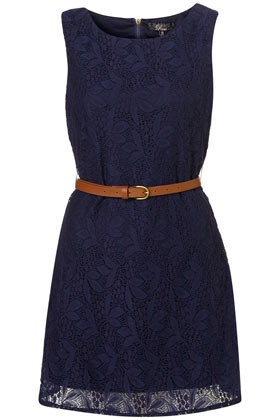 Navy lace dress with a belt.