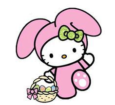 Heres Hello Kitty Surrounded By Bunny Rabbits And Easter Eggs On This Themed Coloring Page For You To Print Color In