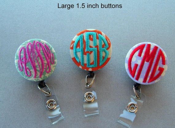 Personalized Monogrammed Embroidered Badge Reel / Name Badge Holder on Etsy, $9.00