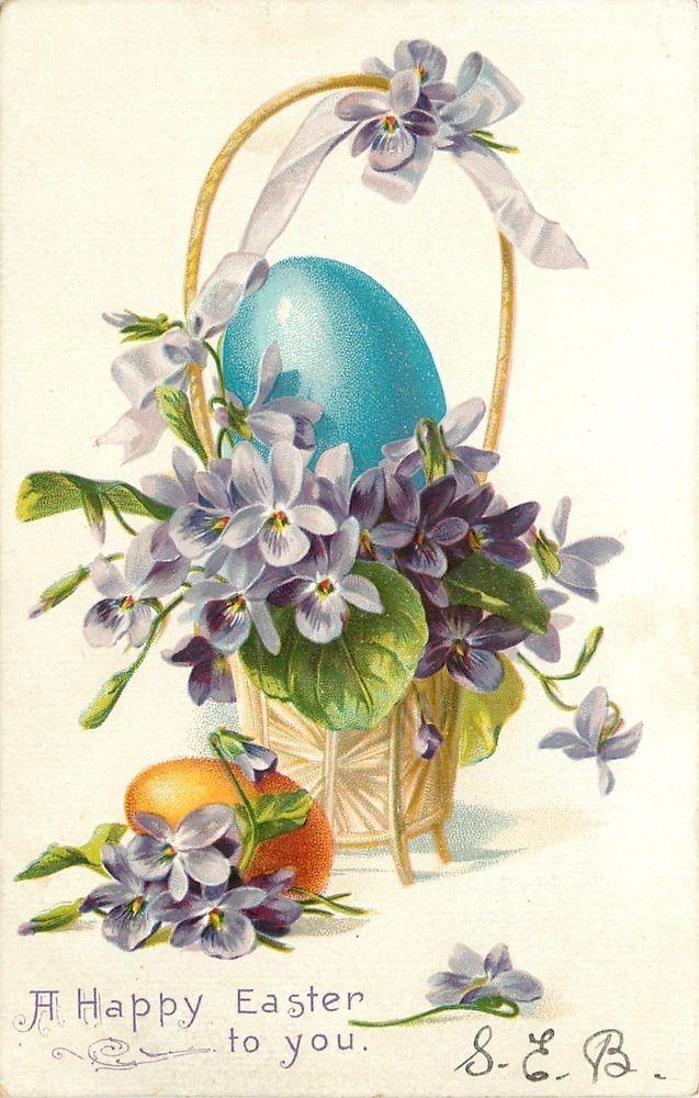 Easter~Big Blue Egg in Violets Flower Basket~Yellow Shell~Emboss~1905 TUCK PC