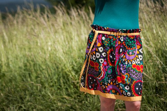 Colorful Ethno Circle Skirt for Summer Cotton Beach by RUKAMIshop