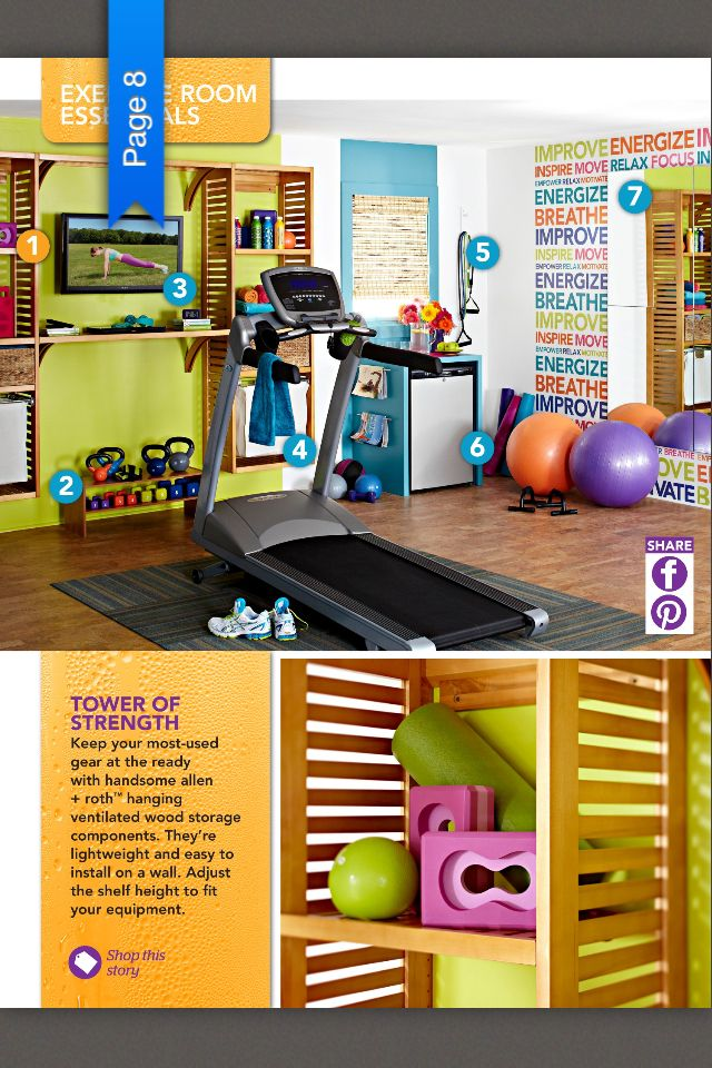 A bright, organized home gym. If you notice, not a lot of expense other than the treadmill. -- but I have a feeling my home gym will need to be more 'manly' for the hubby & two boys ;)