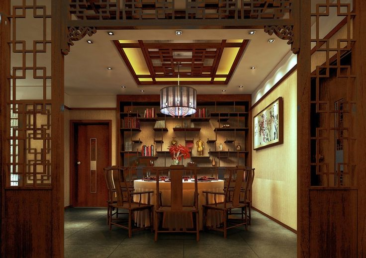 Chinese style interiors modern chinese restaurant for Restaurant dining room designs pictures