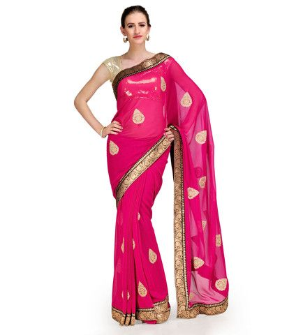 Dark Pink Chiffon Saree with Brocade Border | Fabroop