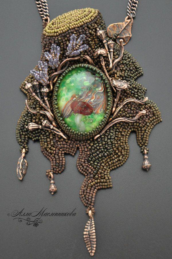 "Gorgeous necklace with bead embroidery and lampwork bead | Купить Кулон ""Волшебный лес"" с кабошоном lampwork - пенек, травы, кулон из бисера"