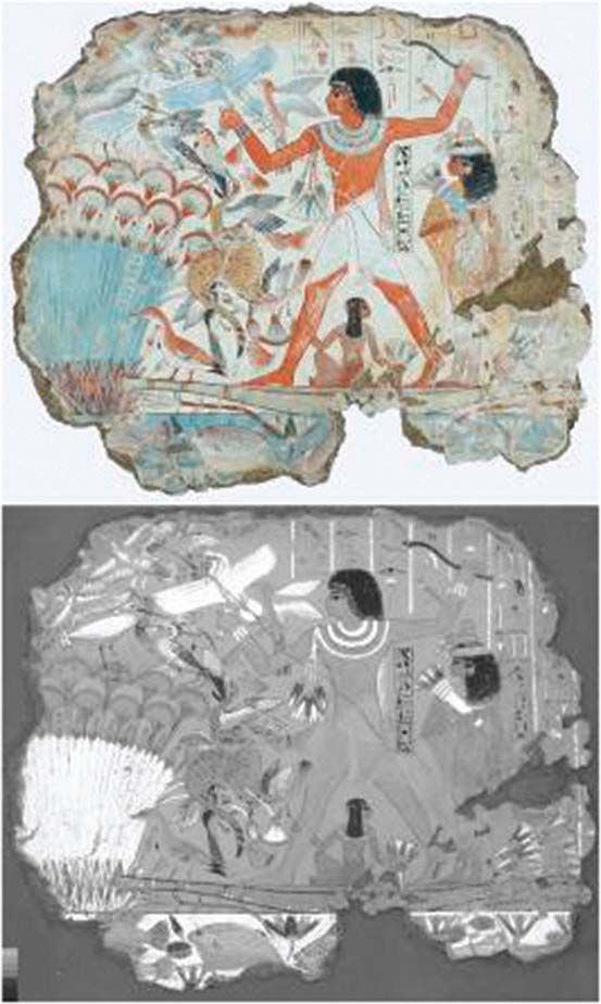 Fowling in the marshes , Nebamun wall painting fragment, British Museum, London, UK    EGYPTIAN BLUE  the oldest known synthetic pigment. Bottom, infrared photoluminescence, bright white areas  correspond to the presence of high luminescent Egyptian blue.    Very stable synthetical pigment of varying blue color, ex 3000 years old exist. Copper calcium silicate the first synthetic pigment and the most widely used from the early dynasties in Egypt until the end of the Roman period in Europe.