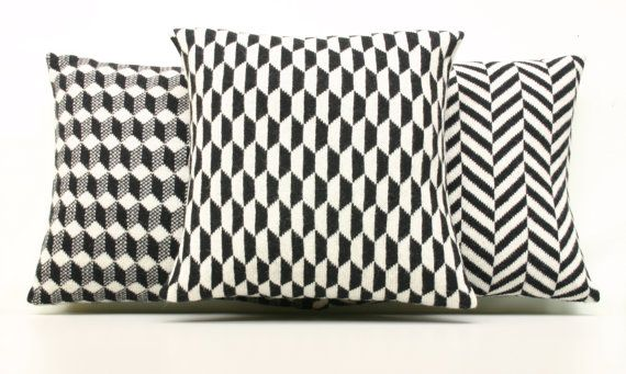 Geometric Pillow Geometric Cushion Monochrome by ArticleApparel, $49.00