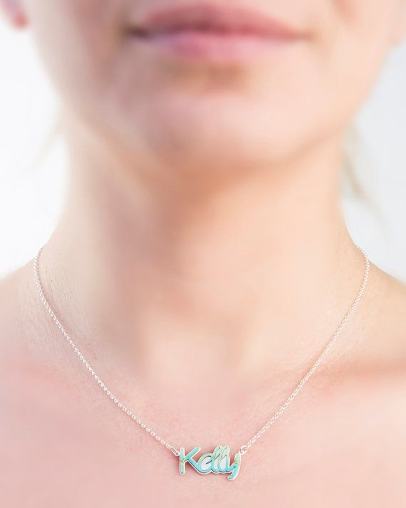 Silver word necklaceKelly necklacecustom word by largentolab