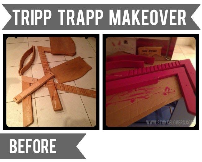 How to paint a Tripp Trapp, buying one for Johnny, have to give each kid their own color, copper for Mary, green for johnny