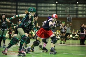 Wards of the Skate VS Melbourne's South Sea Roller Derby during Across the Skate Divide in July 2011. SSRD triumphed 132 to WARD's 80. (Picture: Peter Granheim http://www.flickr.com/photos/granno/)