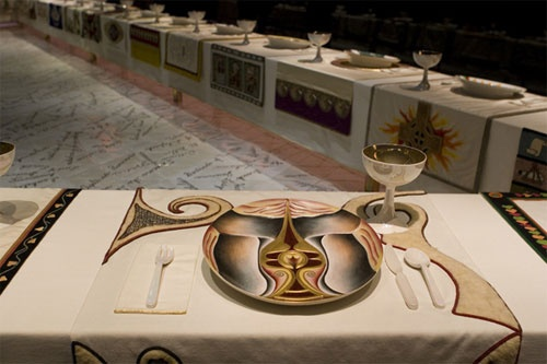 JUDY CHICAGO (et al): The Dinner Party: Boadaceia setting (1974-79). Now a permanent installation (both physical and virtual) at the Brooklyn Museum, see http://www.brooklynmuseum.org/opencollection/objects/5167/The_Dinner_Party